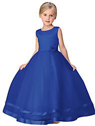Ball Gown Floor-length Flower Girl Dress - Cotton Tulle Satin Chiffon Sleeveless Scoop with Bow(s) Draping Flower(s)