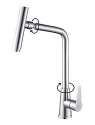 Contemporary Deck Mount Stainless Steel Nickel Brushed Rotatable Spout with  Ceramic Valve Single Handle One Hole Kitchen Faucet