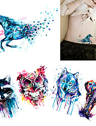 5 Pieces Body Tattoo for Women Men Arm Waist Watercolor Animals Colored Raccoon Wolf Owl Body Temporary Tattoo Sticker