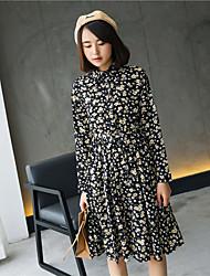 Modelo tiro real! 2017 primavera novo vestido floral de mangas compridas