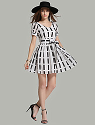 signe été nouvelles stations européennes puff dentelle arc v-cou était mince robe de taille