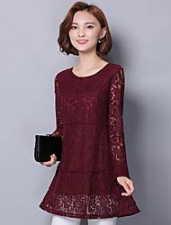Ажурная рубашка с кружевной рубашкой&# 39; s весна и осень корейский рубашка с длинными рукавами рубашка дна