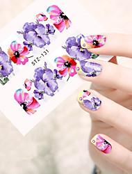 10pcs/set Fashion Hot Design Nail Art Water Transfer Decals Beautiful Colored Flower Full Nail Art Sticker DIY Beauty Tip STZ-131