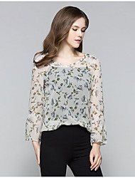 Women's Casual/Daily Cute Summer Blouse,Florals Round Neck Long Sleeve Chiffon Medium
