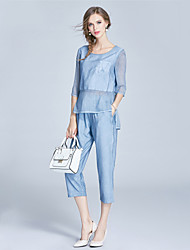 EWUS/Women's Casual/Daily Sports Sexy Simple Street chic Spring Summer T-shirt Pant SuitsSolid Round Neck  Length Sleeve Linen Rayon