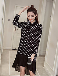 Sign 2017 spring new short in front long skirt pleated chiffon fishtail dress shirt