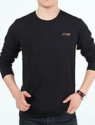 Men's Work Beach Simple Shirt,Solid Round Neck Long Sleeve Cotton Bamboo Fiber