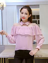 Signe de printemps 2017 nouveau tempérament sexy perspective pochette en gaze chemise en mousseline flounced femme chemise à manches