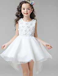 Ball Gown Asymmetrical Flower Girl Dress - Cotton Satin Tulle Sleeveless Jewel Neck with Applique by YDN