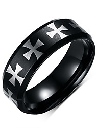 Black Ring for Men Cross Stainless Steel Metal Jewelry Cool Gift