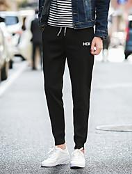 Masculino Simples Moda de Rua Activo Cintura Média Micro-Elástico Chinos Calças Esportivas Calças,Reto Cor Única