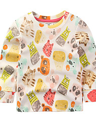 Casual/Daily Print Tee,Cotton Spring Fall Long Sleeve Regular