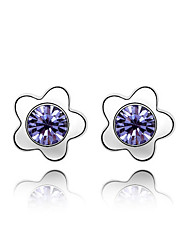 Women's Stud Earrings Crystal Love Floral Personalized Euramerican Classic Chrome Jewelry For Wedding Party Birthday Gift