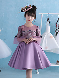 HUA XI REN JIAO A-line Knee-length Flower Girl Dress - Lace Satin Satin Chiffon Jewel with Bow(s) Pearl Detailing