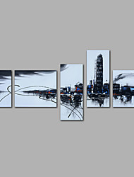 Hand-Painted Abstract Any Shape Modern Five Panels Canvas Oil Painting For Home Decoration
