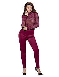 Burgundy Long Sleeve Studded Mesh Top Jumpsuit