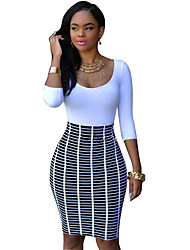 Women's Casual/Daily Bodycon Dress,Solid V Neck Above Knee Cotton All Seasons High Rise Micro-elastic Thin