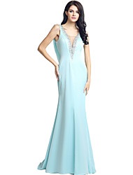 Formal Evening Dress Trumpet / Mermaid V-neck Sweep / Brush Train Jersey with Beading