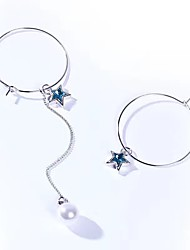 2 Style Star Pearl Blue Crystal Round Drop Earrings Hoop Earrings Jewelry Unique Design Dangling Style Pendant Personalized Multi-ways Wear