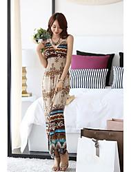 Bohemian printing beach dress v-neck jumpsuit summer seaside resort big swing dress child