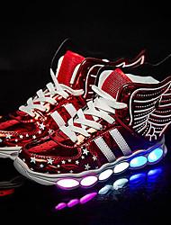 Para Meninos-Tênis-Light Up Shoes-Rasteiro-Dourado Preto Prata Vermelho-Courino-Casamento Ar-Livre Escritório & Trabalho Social Casual