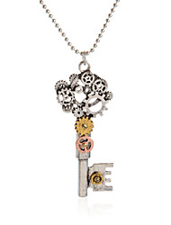 Vintage Pendant Necklace Gear Charm Steampunk Necklaces-Gear Key