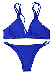 Women's Halter Bikini,Solid Spandex