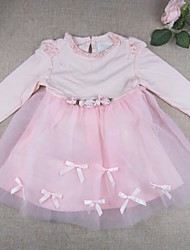 Baby Going out Casual/Daily Solid DressCotton Polyester Spring Fall Pink Tulle Dress