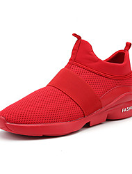 Men's Athletic Shoes Fall Winter Comfort PU Casual Flat Heel Lace-up Black Red White