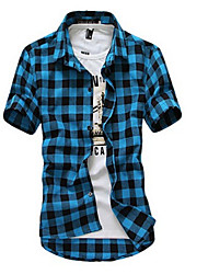 Men's Casual Fashion Plaid Short-Sleeved Shirt