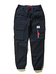 Men's Mid Rise Inelastic Sweatpants Pants,Simple Active Loose Solid