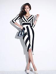 2015 primavera e verão nova coreano mulheres v-pescoço vestido listrado temperamento vestido de manga fina mulheres