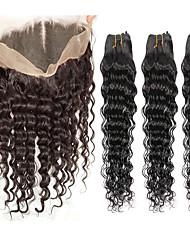 Tissages de cheveux humains Cheveux Indiens Ondulation profonde 6 Mois 4 Pièces tissages de cheveux