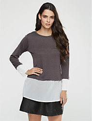 Women's Plus Size Spring / Fall / Winter T-shirt,Patchwork Round Neck Long Sleeve Black / Gray / Yellow Cotton Medium