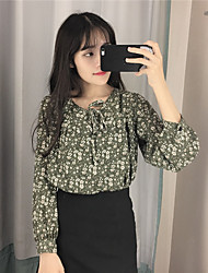 Весна новый корейский реальный выстрел был тонкий свободный ветер колледжа с длинными рукавами цветочные шифон кружева рубашки женщины