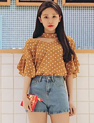 Model the real stars! Polka Dot wild sweet lotus sleeve V-neck halter chiffon shirt shirt