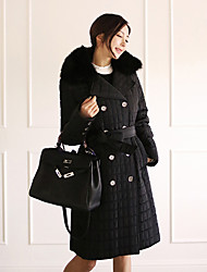 2016 winter new thickened small squares long detachable fur collar coat