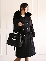 2016 зима новый утолщенные квадратики длинный съемный меховой воротник пальто