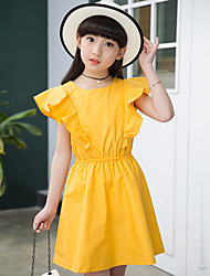 Girl's Cotton Sweet Going out Casual/Daily Holiday Patchwork Solid Color Princess Dress Cotton Summer Ruffle Short Sleeve Yellow Blue Green