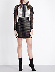 2016 spring black and white checkered lace wood ear Slim dress