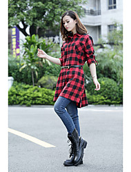 Checkered shirt lapel 2016 new long section of loose shirt, dress shirt