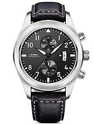 SINOBI Masculino Relógio Esportivo Relógio Militar Relógio de Pulso Quartzo Calendário Impermeável Cronômetro Resistente ao Choque Couro