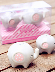 Lucky in Love Lucky Elephant Ceramic Salt and Pepper Shakers Set Favors