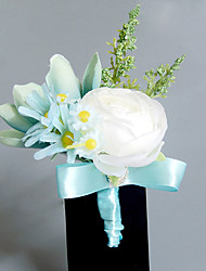 Wedding Flowers Free-form Roses Lilies Boutonnieres Wedding Party/ Evening Light Blue Satin