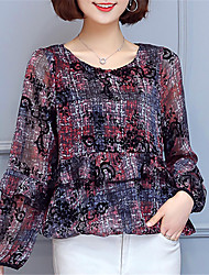 Women's Going out Casual/Daily Street chic Spring Summer Shirt,Print Round Neck Long Sleeve Polyester Medium