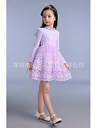 Menina vai sair casual / daily floral vestido verão mola queda metade da manga