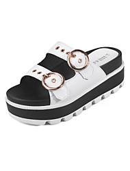 Damen-Sandalen-Kleid-Mikrofaser-Keilabsatz-Komfort-Weiß Schwarz