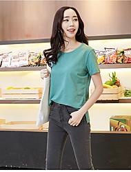 Simples de algodão de bambu t-shirt coreano feminino de mangas curtas verão solto de algodão em torno do pescoço de manga curta camisa