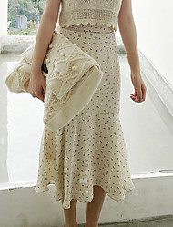 Femme Taille Normale Midi Jupes,Trompette/Sirène Imprimé Eté