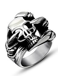Кольцо Хип-хоп Титановая сталь Серебряный Бижутерия Для Повседневные 1шт
